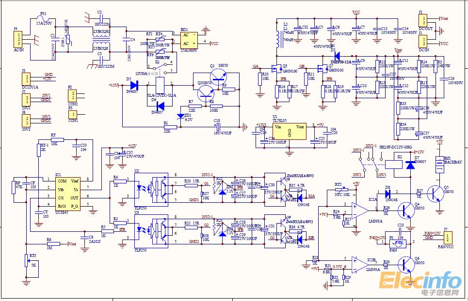 我起初考虑用ac220v整流后加uc3845boost电路来实现升压电路做.图片