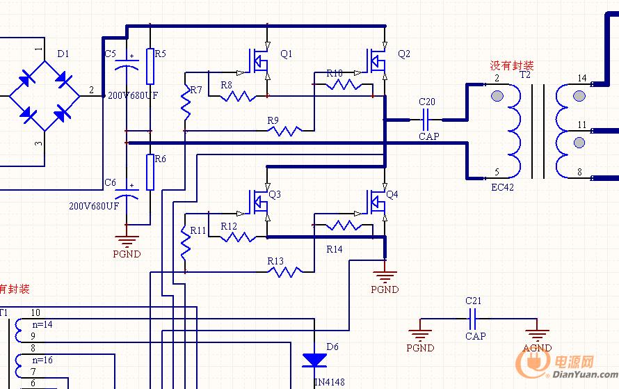 如图,这是一个半桥电路,打算做500w,24v/20a,上下管两个是为了加大