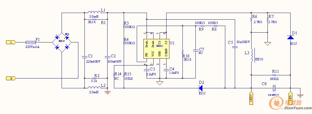 方案名称:茂捷M8916 10W隔离高PF方案可替代BP2326A、SD6902S、CS9220S 品牌名称:茂捷半导体 M8916是一款带有源功率因数校正的高精度非隔离降压型LED恒流控制芯片, M8916集成有源功率因数校正电路,可以实现很高的功率因数和很低的总谐波失真。由于工作在电感电流临界连续模式,功率MOS管处于零电流开通状态,开关损耗得以减小,同时电感的利用率也较高。M8916内部集成500V功率MOSFET,只需要很少的外围器件,即可实现优异的恒流特性。M8916采用专利的浮地构架,对电感电