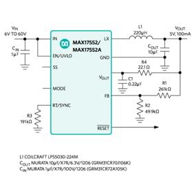 美信-MAX17552-60V、100mA、超小尺寸、高效率、 同步降压型DC-DC转换器
