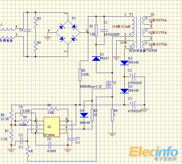 关于用uc3844,er28/28做的做的开关电源