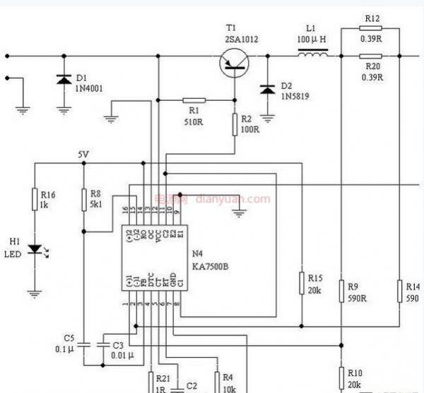 文中所述的集成电路ka7500b是三星公司出品的一颗专用的脉宽调制