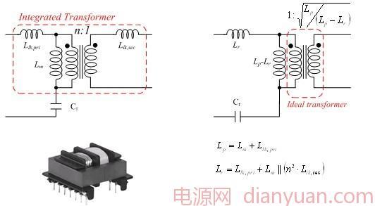 这里,Cr 和Lr 分别为谐振电容和电感,Lp 为集成式变压器的初级端电感。Rac 等于,其中考虑到了次级端二极管的正向电压降。 [设计实例] 在前面的步骤中,m值选为6,考虑到了余裕的所需最大增益 Mmax 求得为1.45。通过图5找出的Mmax对应的正确Q因子为0.35。 当谐振频率为100 kHz时,谐振电容Cr 的值可由下式求出:  考虑到出厂电容的标准值,一个22nF的电容就足够了。Lr 和 Lp 谐振电感的值可由下式求出:  后续的设计步骤和更多的技术信息 本文简单介绍了下谐振工作及其LLC谐