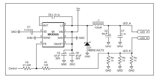 基于固定频率,高集成度pwm开关转换器max5035的高亮度led电源原理图片