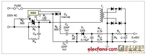 当电容达到阈值电压时,负阻半导体成为一个700Hz的振荡器。通过一个变压器或电容,就可以简单地使这个交流信号穿过绝缘边界。如果不能确定信号变压器的绝缘规格,可以用电容做变压器的耦合(图1)。如果采用了可选电容C2和C3,则它们的额定电压应大于800V.功率电阻R3限制浪涌电流,其额定功率应大于2W~10W.
