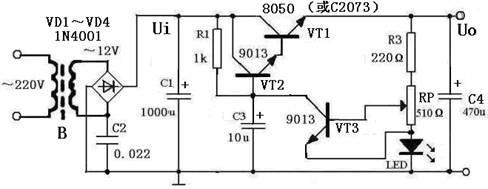 简述一款3 12V可调分立元件直流稳压电源工作原理图片