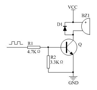 图1.1 无源蜂鸣器常规驱动电路