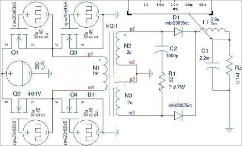 全桥开关电源中变压器的仿真