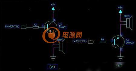 上面图一中a电路用的是npn管,注意蜂鸣器接在三极管的集电极,驱动