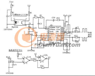 如上图图3所展示的基于sg3525而设计的大功率开关电源外围控制