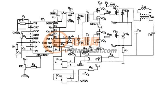 图1 超高频感应加热电源逆变器控制与驱动电路 从图1所展示的感应加热电源逆变器控制与驱动电路系统中,我们可以很清晰的看到,这一驱动电路采用脉冲变压器和VQ1、VQ2、VQ3、VQ4构成的推挽电路组成。在该系统中,我们所采用脉冲变压器来组成驱动电路,主要因为它有两个功能,能够保证驱动电路的正常运行。第一个功能是它能够将控制电路和主电路隔离,减小主电路对控制电路的干扰,第二个功能是它能够放大输入触发脉冲的幅值,使脉冲变压器的次级脉冲峰值大于Vcc2的电压,保证VQ1、VQ2、VQ3、VQ4工作在开关状态。