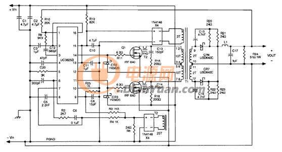 基于UC3825的穩壓電源設計方案控制電路圖