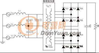 基于移相变压器的12脉波整流三相无源pfc电路