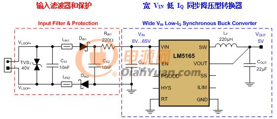 图2:脉冲频率调制(pfm)同步降压型转换器原理图,包括一个emc滤波器和