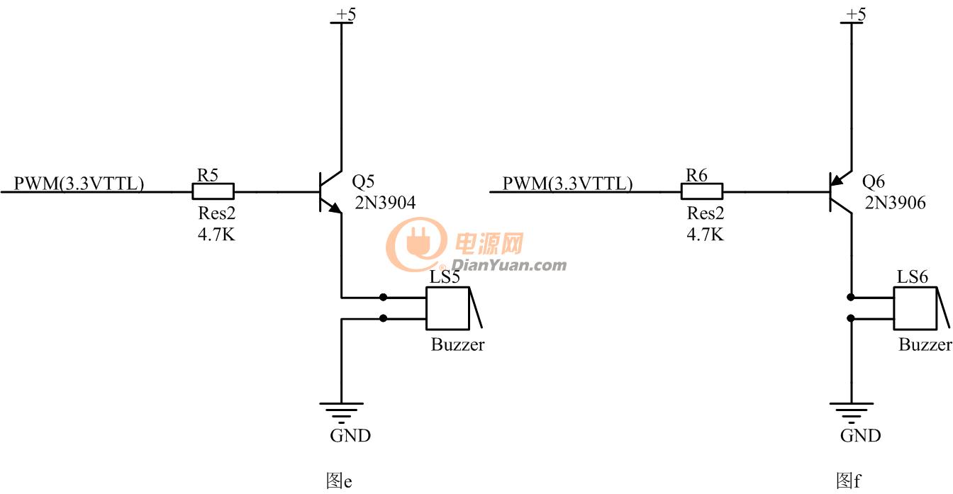 图2      图二的两个电路和图一相比,把蜂鸣器接在了三极管的发射