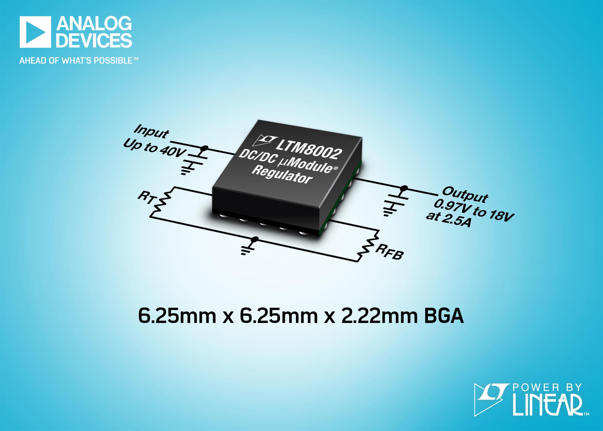 ADI推出新产品符合FMEA 要求的40V 2.5A µModule稳压器