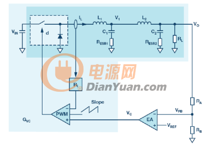 波器的电流模式降压转换器的电路图-带有次级LC滤波器的电流模式图片