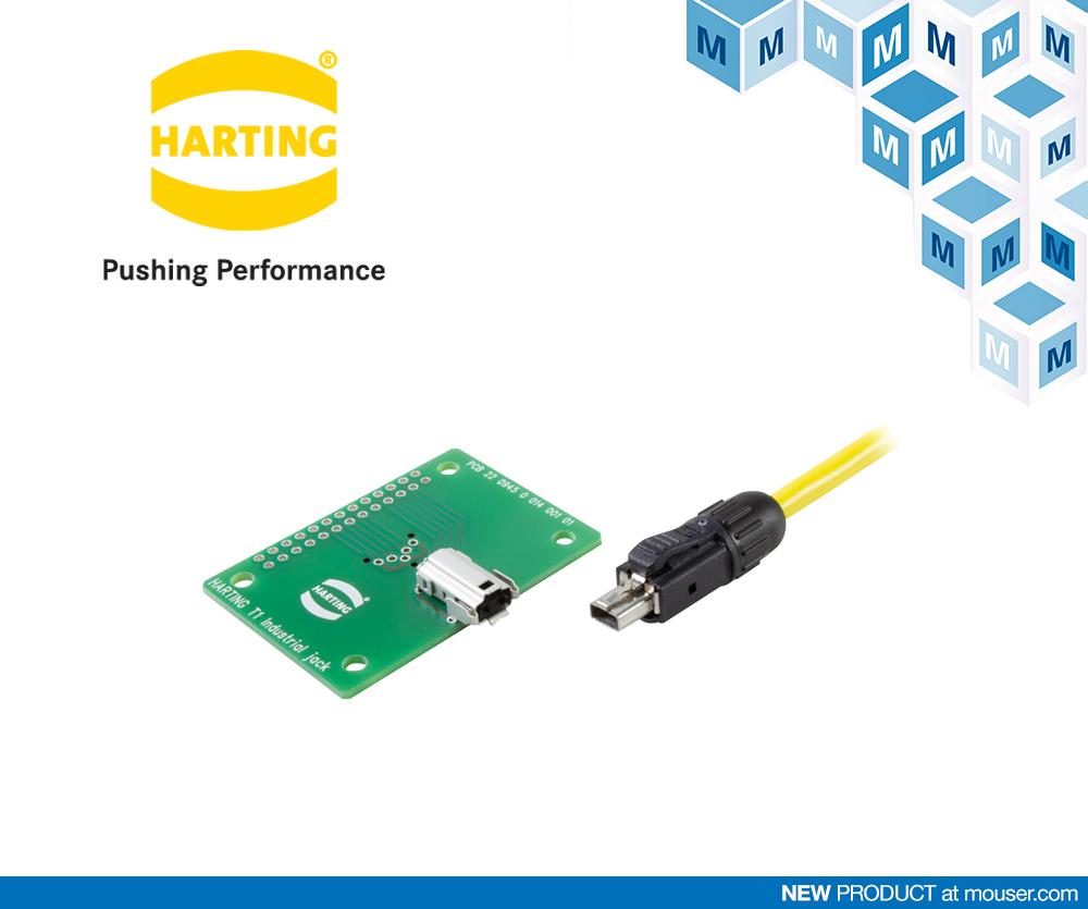 贸泽开售HARTING奠定行业标准的T1 Industrial单对以太网产品