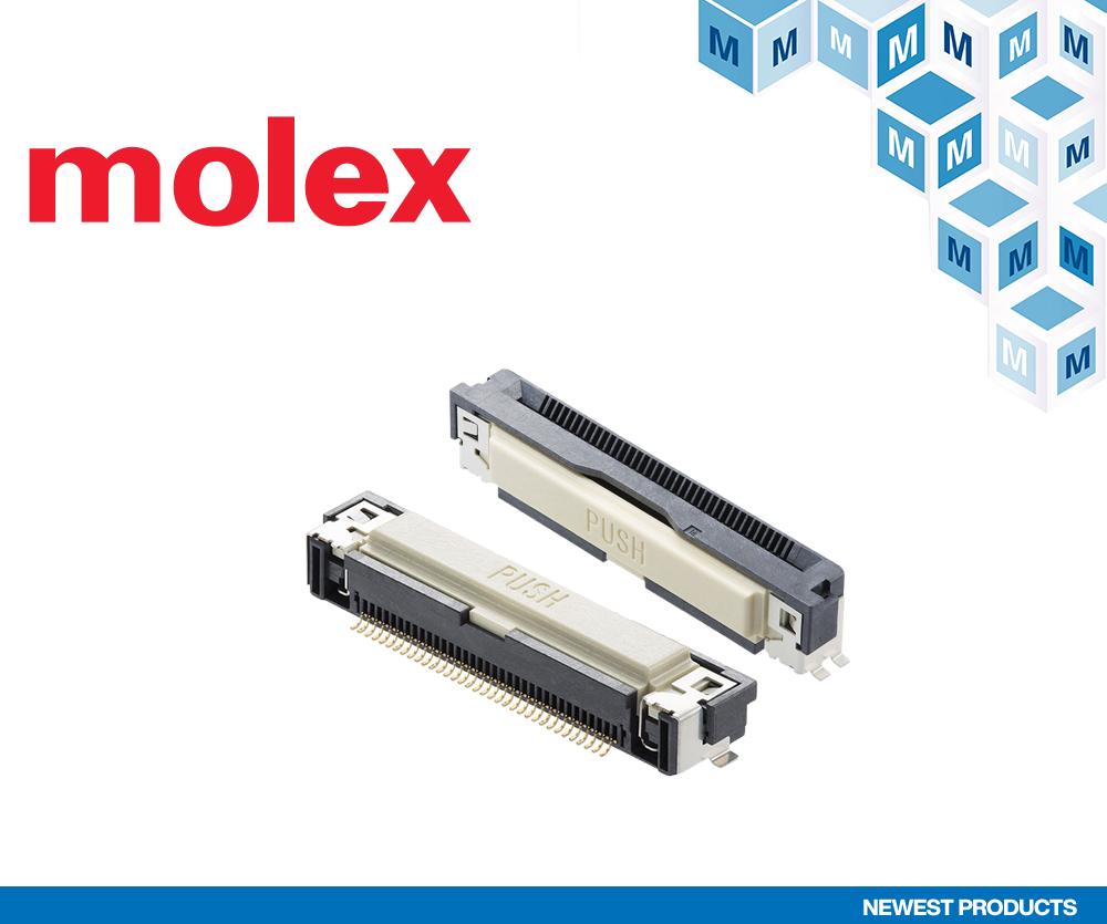 贸泽电子开售用于汽车信息娱乐系统等用途的 Molex Easy-On FFC/FPC One-Touch连接器